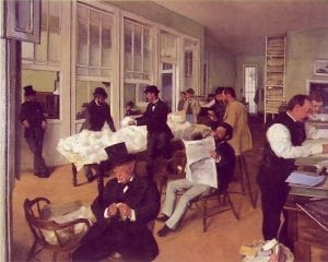 Degas's first painting of his uncle's cotton offices was executed in pure neo-classic style.