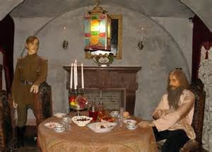 An exhibit in the Yusupov Palace exhibit recreates the crime with Prince Yusupov and Rasputin in the basement room where the crime occurred.